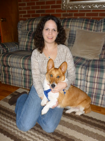 Me cuddling with our adorable Welsh corgi, Chaucer  :)