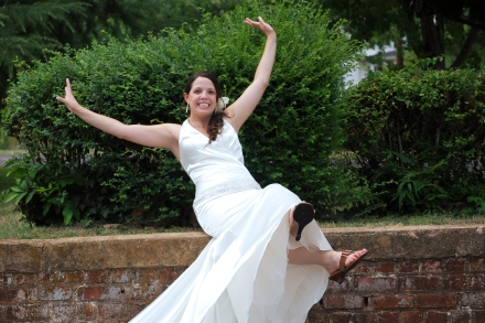Every bride needs at least one silly wedding picture, rig ht?  I thought so.  :)  Photo by Triskay Photography.