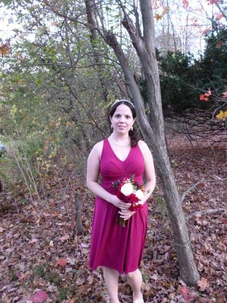 This is me as a bridesmaid in my college roommate's wedding this past Fall.  We got the dresses from Ann Taylor.  I got the headband at WalMart, the shoes at Rack Room, & the earrings were a gift from the bride.  She also loaned me the necklace.