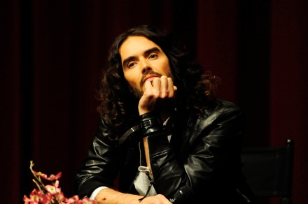LOS ANGELES, CA - APRIL 02: Russell Brand moderates the Q&A at the