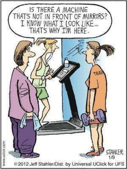 I actually like all the mirrors at the gym, but I still thought this was funny.