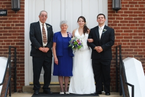 Most recent good picture I have with my grandparents is from our wedding 4 years ago.  Photo credit to Triskay Photography.