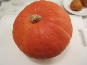 This is a kabocha squash or Japanese pumpkin . . . if you can find them, they are delicious!