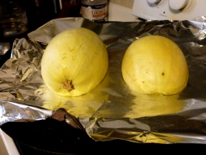 When the recipe says cut the squash & half & lay it rind side up, this is what it means. I would recommend spraying or oiling the aluminum foil.