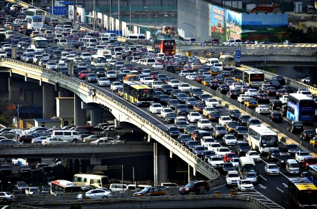 Lines of cars are pictured during a rush hour traffic jam on Guo